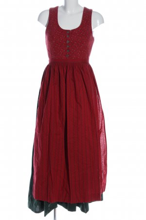 Alphorn Dirndl rood-khaki volledige print klassieke stijl