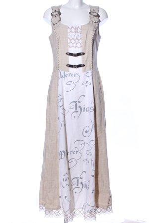 Alphorn Dirndl light grey-natural white allover print classic style
