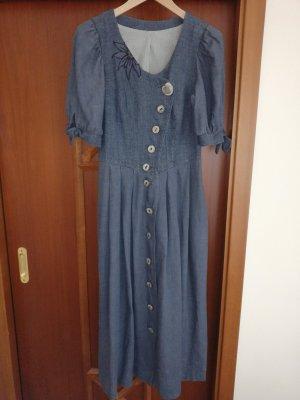 Alphorn Trachten Kleid Leinen rauchblauen 38