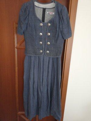 Alphorn Trachtenkleid 2-teilig graublau 38