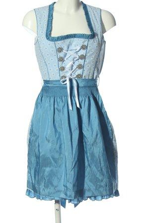 Alpin de luxe Vestido Dirndl azul-blanco estampado floral elegante