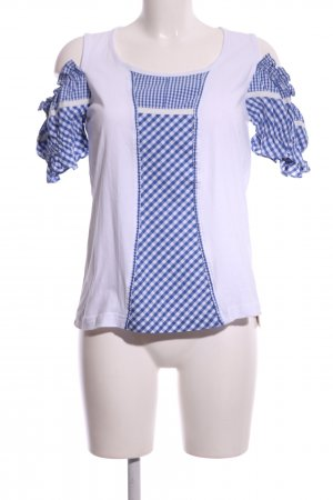 Alpin de luxe Traditional Blouse white-blue check pattern casual look