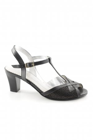 Alpina Strapped High-Heeled Sandals black-silver-colored abstract pattern