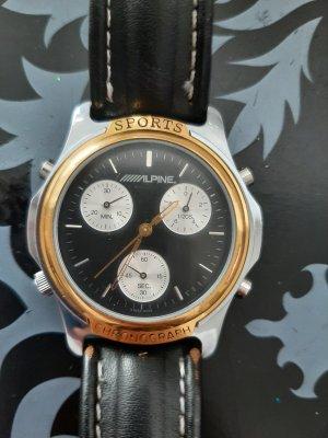 alpine Horloge met lederen riempje blauw