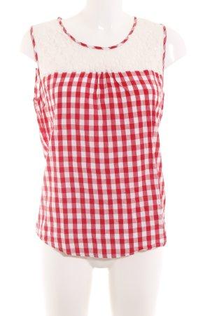 Alprausch Blouse-chemisier rouge-blanc motif à carreaux style décontracté