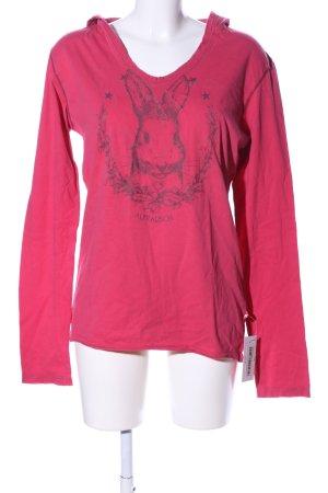 Alprausch Longsleeve pink-schwarz Motivdruck Casual-Look