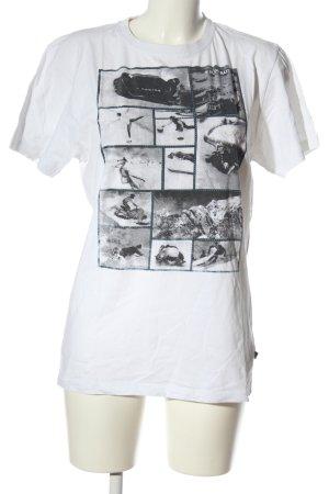 Alprausch T-shirt imprimé blanc-noir imprimé avec thème style décontracté