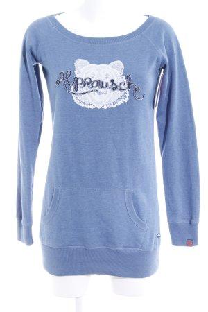 Alprausch Kraagloze sweater staalblauw prints met een thema casual uitstraling