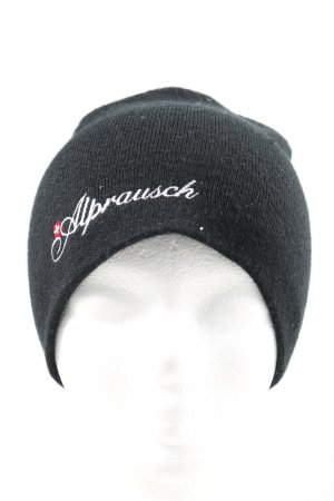 Alprausch Knitted Hat black printed lettering casual look