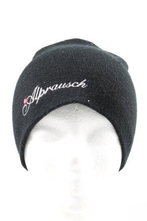 Alprausch Czapka z dzianiny czarny Wydrukowane logo W stylu casual