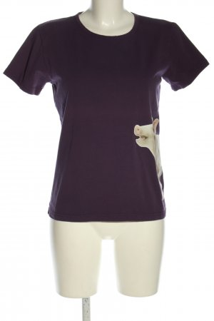 T-Shirt lila-wollweiß Motivdruck Casual-Look