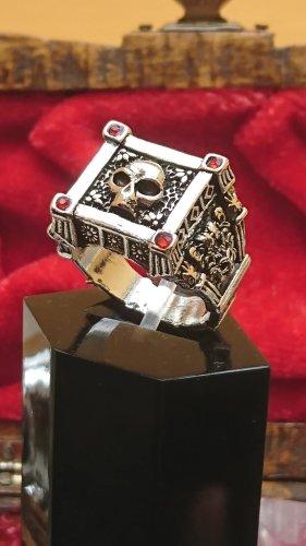 Srebrny pierścionek srebrny-czerwony