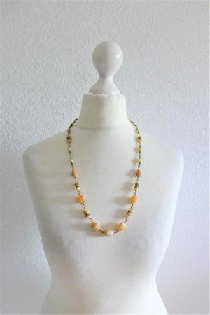 Alt vintage 60er 60s Halskette Kugeln Perlen gold Bernstein grün
