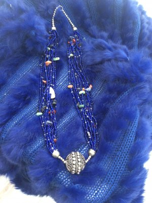 Statement Necklace blue-silver-colored