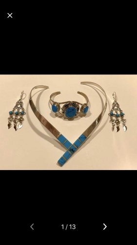 Cadena de plata color plata-azul aciano