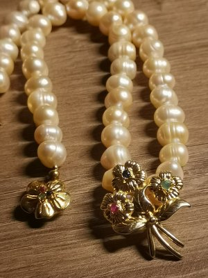 Pearl Necklace gold-colored-natural white real silver