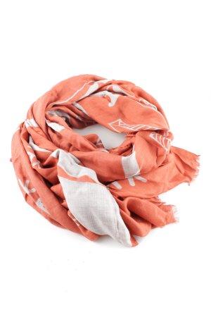 altea Zijden sjaal licht Oranje-lichtgrijs Patroon-mengeling casual uitstraling