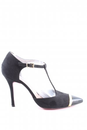 Altramarea Czółenka ze spiczastym noskiem czarny-złoto W stylu casual