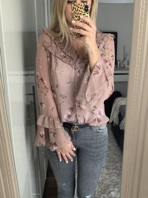 Amisu Camicetta con arricciature rosa pallido-rosa antico