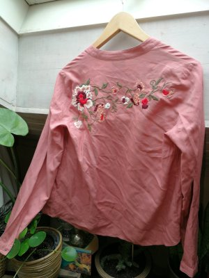 Altrosa Bluse / Hemd Damen in XS mit toller Stickerei
