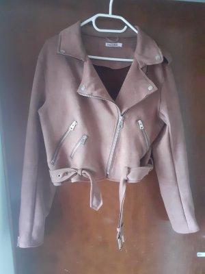 Cherry Koko Faux Leather Jacket dusky pink