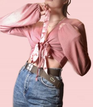 More and More Wikkelblouse stoffig roze-roze
