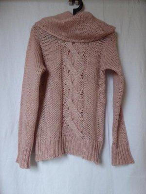 Altrosafarbener Strick-Rollkragen-Pullover (u. a. mit Wolle) von H&M