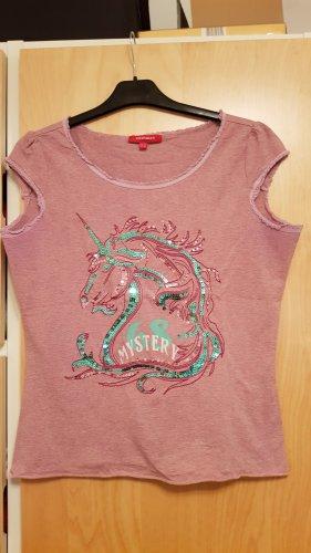 Altrosafarbenes T-Shirt mit Glitzer,Gr. XL (eher Gr.40)