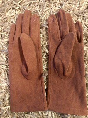 Rękawiczki z imitacji skóry w kolorze różowego złota