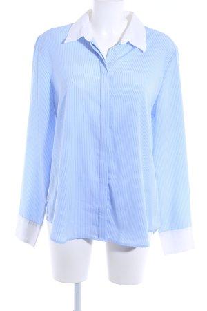 Altuzarra Blouse-chemisier bleu azur-blanc motif rayé style décontracté