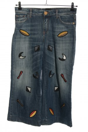 Alysi Jeans a 7/8 blu Stampa a tema stile casual