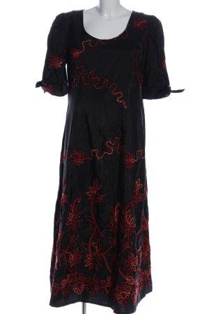 Amalfi Suknia wieczorowa czarny-czerwony Wzór w kwiaty Elegancki