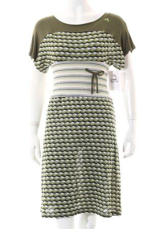 Amarillolimon Kleid olivgrün-grasgrün grafisches Muster Vintage-Look
