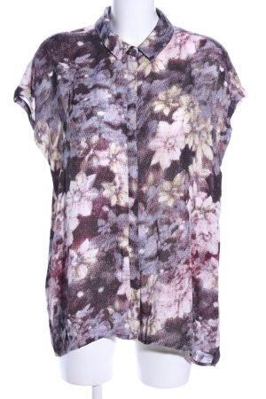 Amaryllis Kurzarm-Bluse lila-pink Blumenmuster Casual-Look