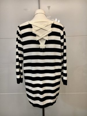 Amaryllis Jersey de cuello redondo blanco-negro