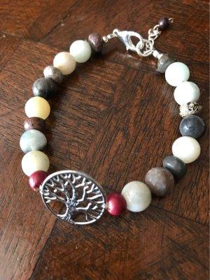 Amazonit & Mookait Armband  mit Lebensbaum