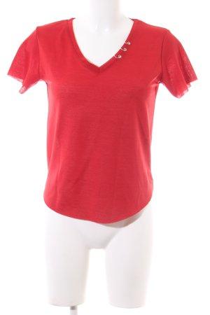 ambar T-shirt col en V rouge style décontracté
