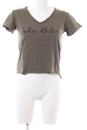 ambar T-shirt col en V kaki lettrage imprimé style décontracté