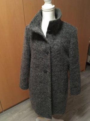 AMBER & JUNE Abrigo de lana gris antracita tejido mezclado