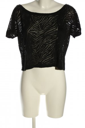 ambiance apparel Cropped Shirt black animal pattern casual look