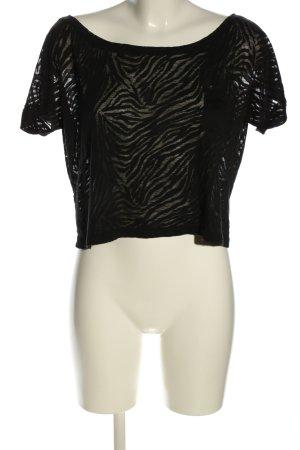 ambiance apparel Cropped shirt zwart dierenprint casual uitstraling
