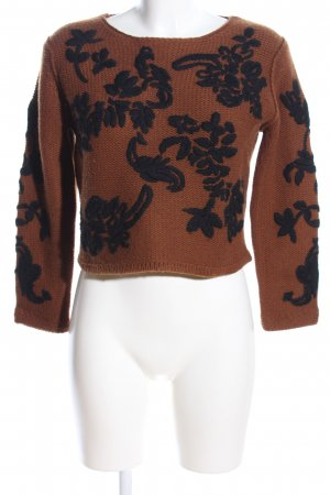 Ambiente Cropped Top brown-black flower pattern casual look