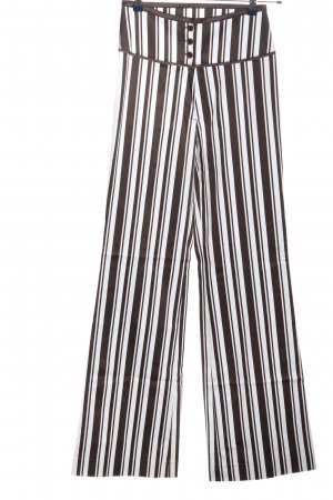 Ambiente High Waist Trousers brown-white striped pattern casual look