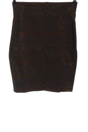 Ambiente Rok met hoge taille zwart-bruin abstract patroon casual uitstraling