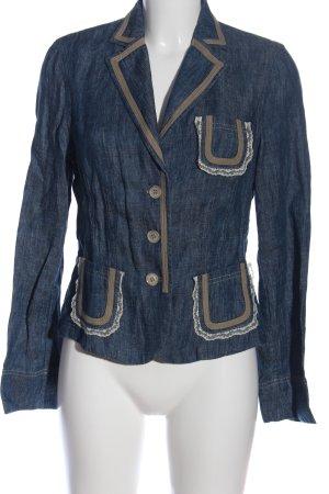 Ambiente Korte blazer blauw gestippeld casual uitstraling