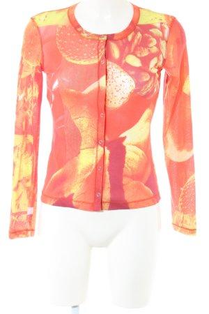 Ambiente Top à manches longues orange clair-rouge motif abstrait
