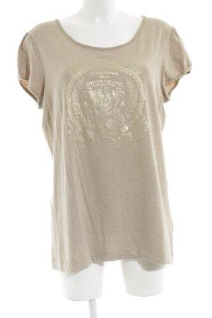 Ambiente T-shirt imprimé blanc cassé-doré moucheté style décontracté