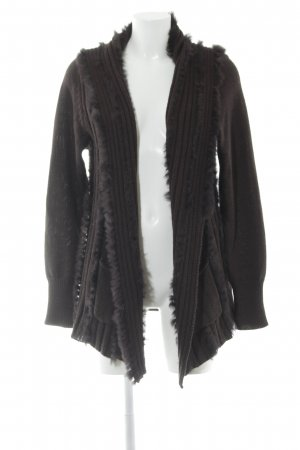 Ambiente Cardigan dark green-dark brown cable stitch casual look