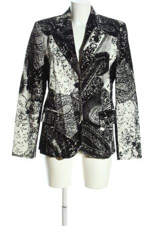 Ambiente Wollen blazer zwart-wit abstract patroon zakelijke stijl