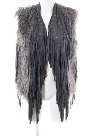 Ambika Gilet gris clair-noir motif animal style décontracté